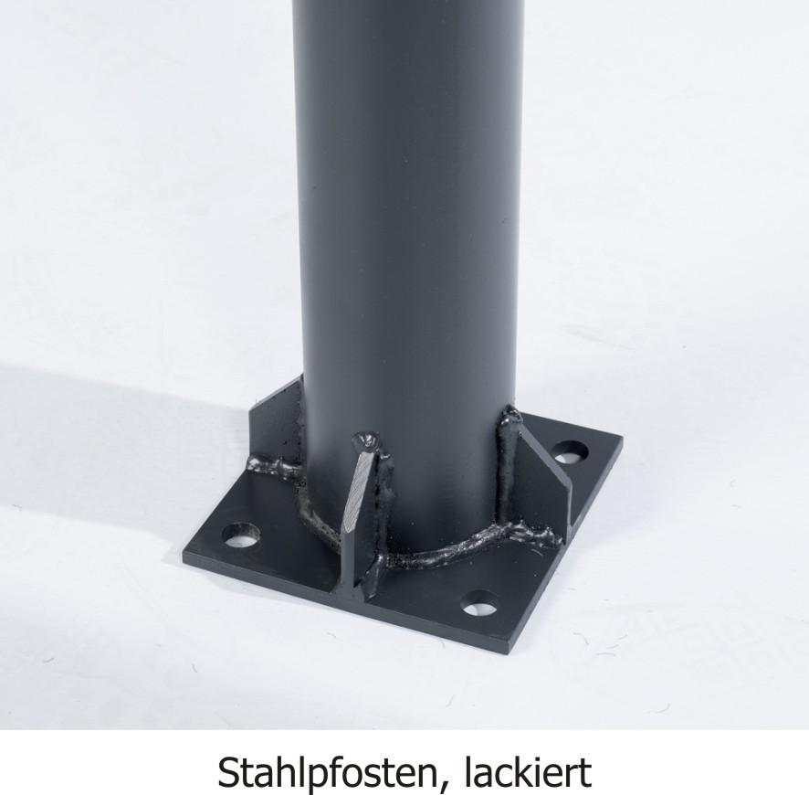2 Stck. Rundpfosten, 350cm, d = 121mm, Stahl 4mm stark, lackiert