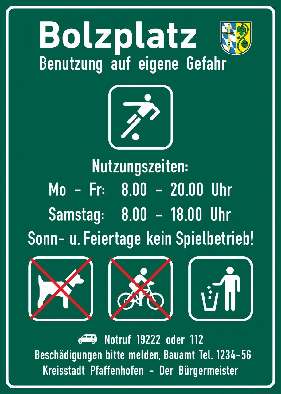 Hinweisschild Bolzplatz, 700x500mm Individualisierbar! (siehe Beschreibung) Neue DIN EN 1176-7:2008-