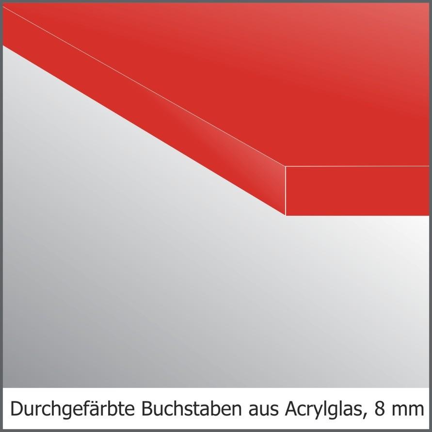 Acrylglas-Fräsbuchstaben, 8mm stark