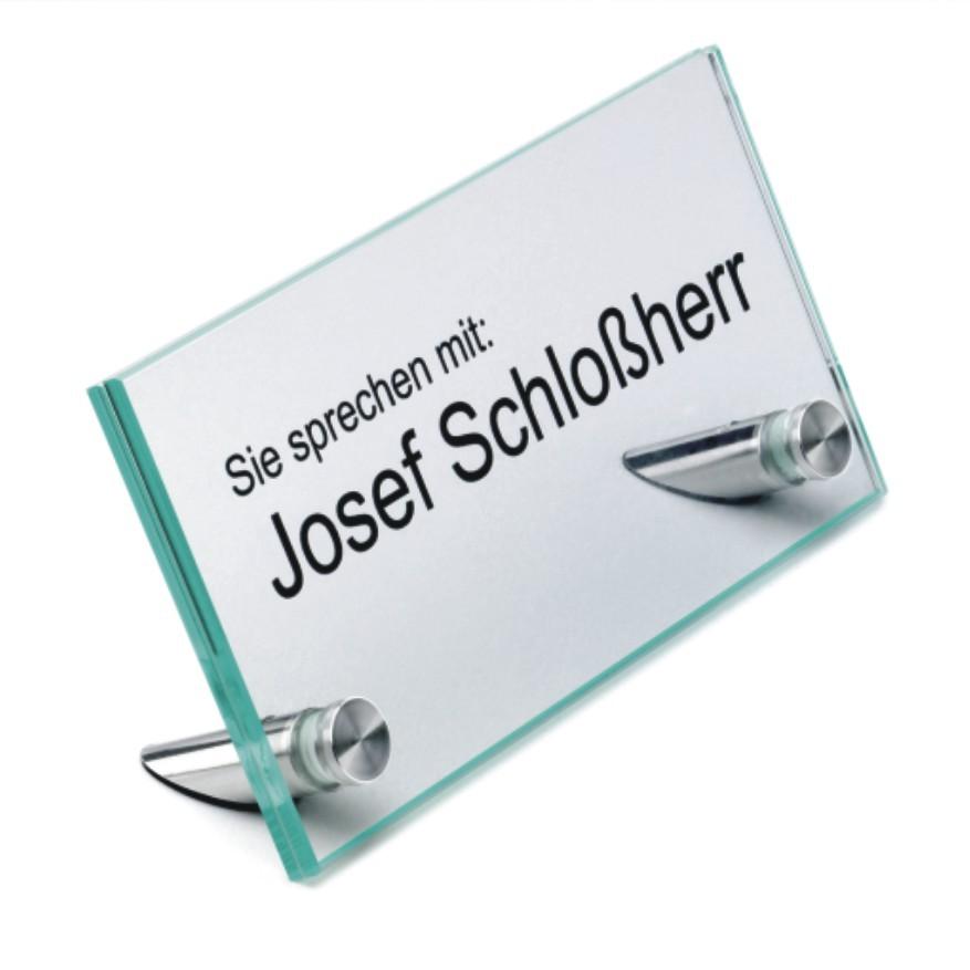 Glasschilder, 2 Scheiben, mit Edelstahlabstandshaltern, incl. Beschriftung
