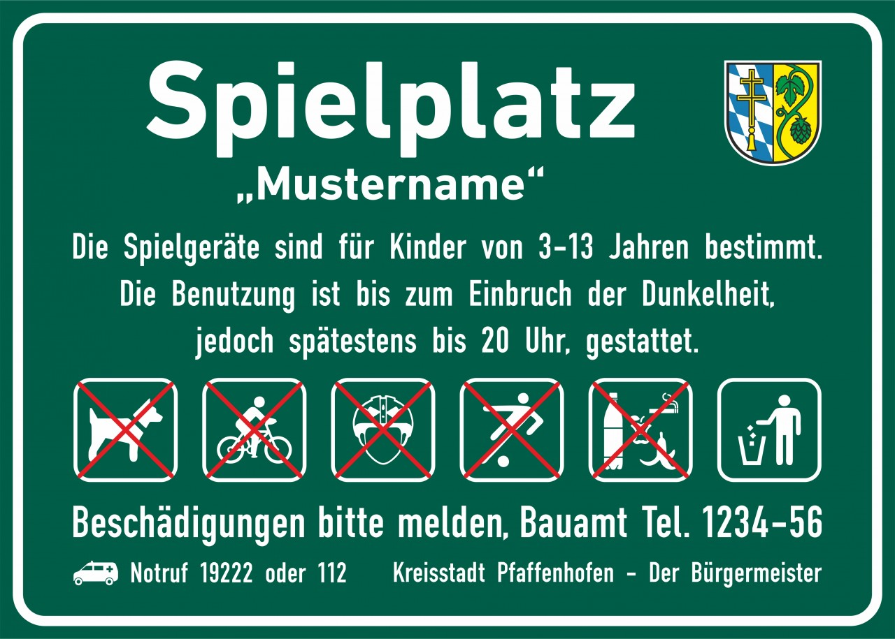 Hinweisschild Kinderspielplatz, 700x500mm Individualisierbar! Neue DIN EN 1176-7:20