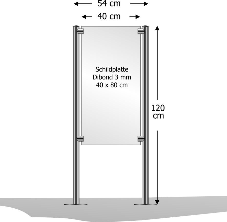 Edelstahl-Standschild-Werbeanlage, 54x120cm, 1 Schild