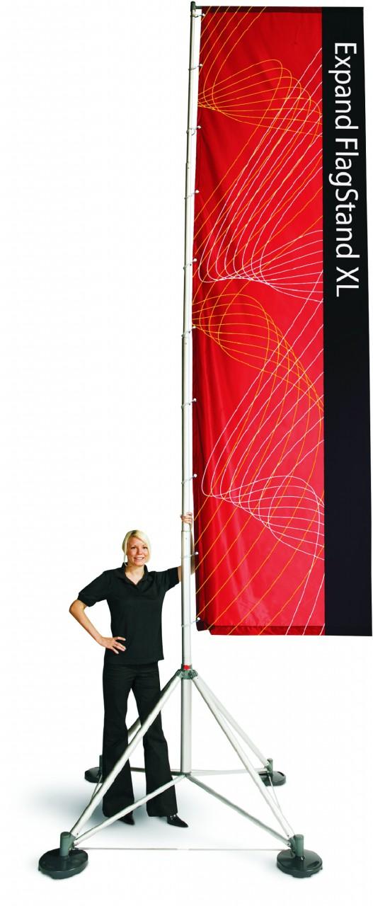 Standflag XL 120cm x 550cm mit Teleskopmast und Gusseisen- oder Wassertaschen-Gewichten