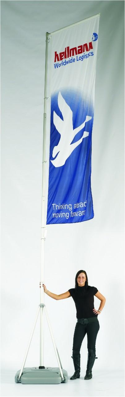 Standflag Mobil Midi mit Teleskopmast 120cm x 550cm mit Digitaldruck-Fahne